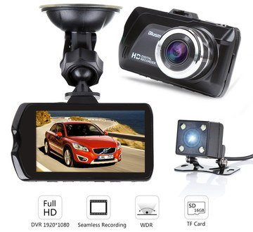 LCD Car Dashboard Camera With Black Exterior