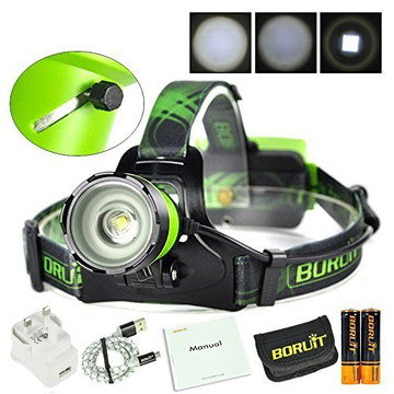 Long Life Powerful Head Torch With White Charger Wire