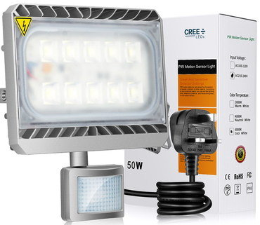 Security Flood Light With Black Cable