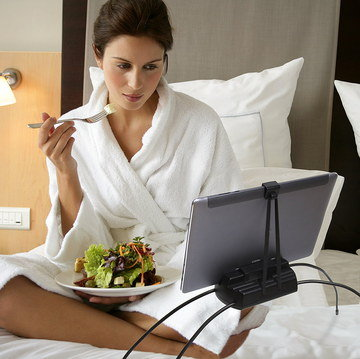 Tablet Holder For Bed Time In Black Used By Woman