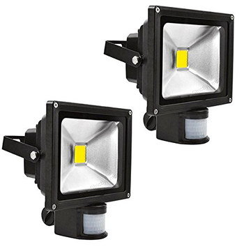 Twin PIR Security Lights With Black Exterior