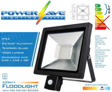 Powerful 50W LED Floodlight PIR In Aluminium