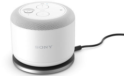 Mini Speaker In White With Black Cable
