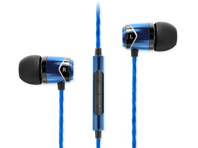 In Ear Headphones With Microphone In Black And Blue