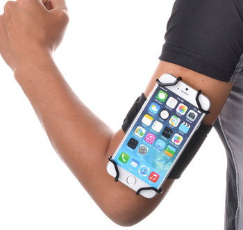 Locking Armband For All Mobiles On Man's Bicep