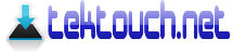 TekTouch.net Blue Down Arrow Logo