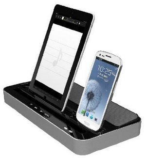 H Ipega Dual Dock Station Audio Speaker With iPad And iPhone Docked