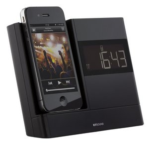 Clock FM Radio Dock In Black With Time Display