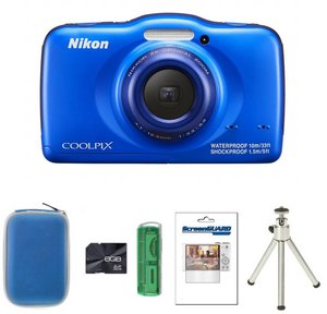 Water/Dust Proof Digital Camera In Blue With Tripod