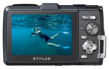 Waterproof Camera In Grey With Under Water Photo