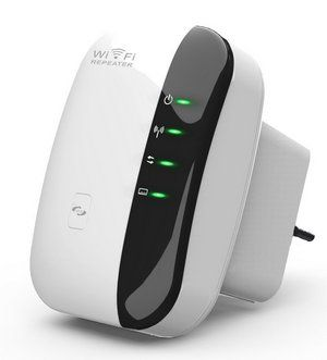 Repeater Wi-Fi Extender - Black and White Plug In Unit