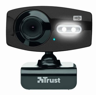 Trust Full HD LED Lighting Webcam In Black With LED Light On