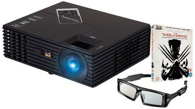 HDMI Input 3D HD DLP Projector In Black With Spectacles