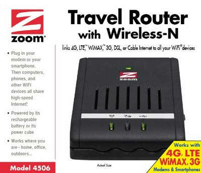 Zoom Share Wi-Fi N Hot Spot Travel Router In All Black Exterior