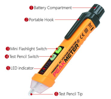 AidBucks Non-Contact Electric Pen Tester With Black Hook