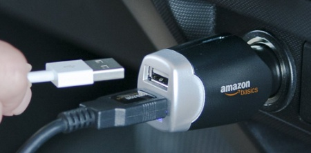 AmazonBasics Twin USB Car Charger Adapter With 2 Slots