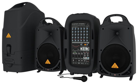 Mobile PA System With Wi-Fi And Black Microphone