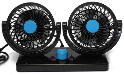 360 Degrees Power 12V Oscillating Car Fan With Blue Button