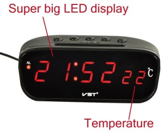 LED Display Temperature Gauge Car Clock With Time In Red