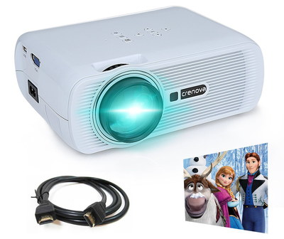 LED Home Cinema Projector In White With Lead