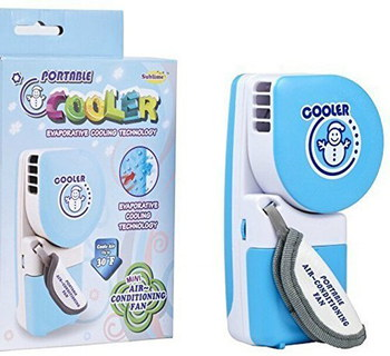 D-Gadget Hand Held Battery Operated Fan In Light Blue With Box