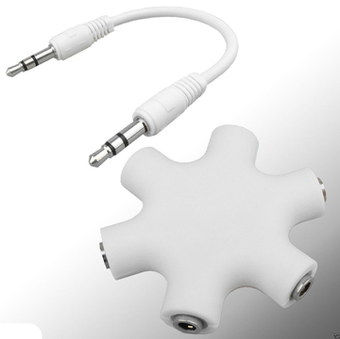 Modest Size 5 Way Splitter For Headphones With Smooth Surface