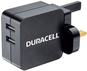 Duracell Mains Dual Micro USB Charger With White Logo