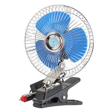 Clip Style 12V In Car Fan Oscillating With Blue Blades