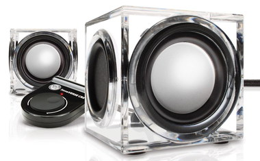 USB Laptop Media Speakers Glass Cube Style