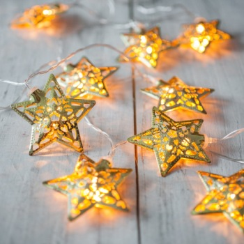 Gold Star LED Hanging Fairy Lights In Bright Gold Effect
