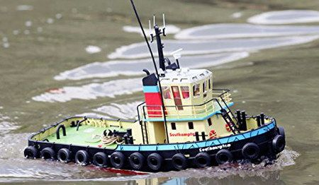 Radio Controlled Model Tug Boat With Black Tyres