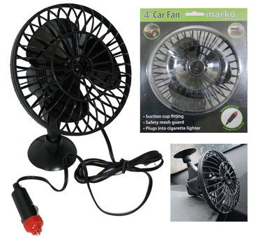 12V DC Small Portable Car Fan With Black Cable