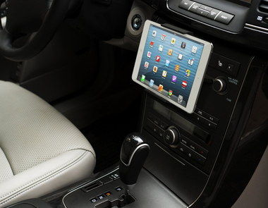 Lock System Car Tablet Mount On Black Instrument Panel