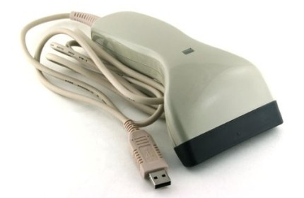 Hand USB Barcode Scanner Reader With White Cable