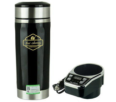 Taicheng 12V Steel Travel Kettle For Car With Gold Logo