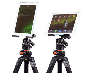 Tripod For iPad Mini Tablets With White Devices Secured