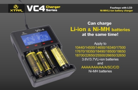 Ni-MH USB AA Battery Charger With Blue Display