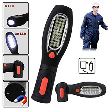 discoBall Inspection LED Work Light Torch In Black And Red Rubber