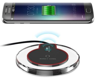 Smart Phone LED Wireless Qi Charging Mat With Red Rim