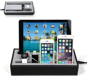 Cushioned Multi Phone Charging Station In Black Box
