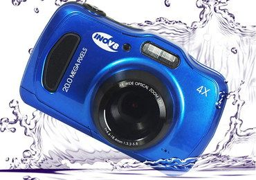 Digital Underwater LCD Camera In Bright Blue