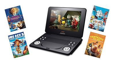 kids portable car dvd player with film discs