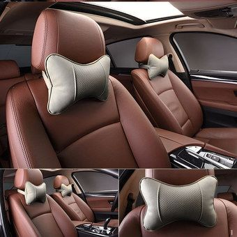 Compact Leather Car Seat Neck Cushion In Cream Colour