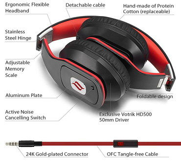 Comfy Active Noise Cancelling Headphones In Black And Red