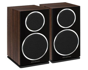 Small Wooden Bookshelf Speakers With Brown Exterior