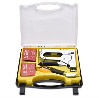 Anti-Rust Upholstery Staple Gun Bundle In Yellow Case