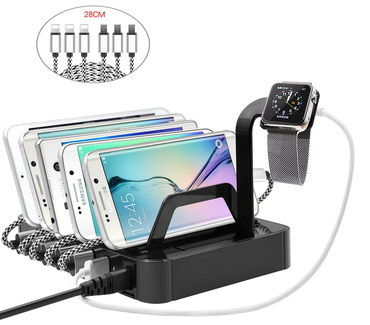 6 Port Gadget Charging Station With Watch Stand