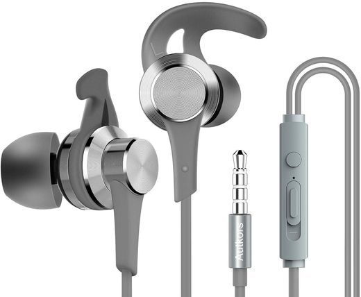 In-Ear Headphones With Mic In Silver Grey