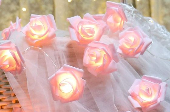 String Lights LED Roses In Pure White