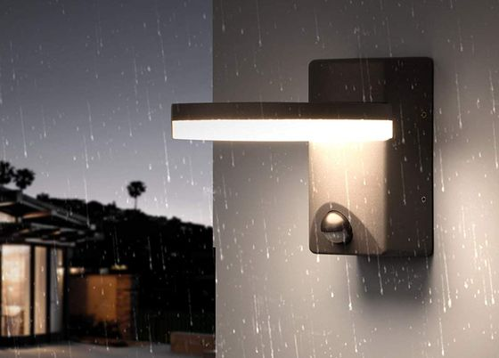 Outside Wall Light With PIR And Black Exterior